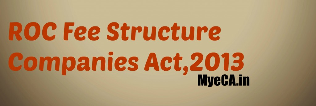 ROC Fee structure (Companies Act,2013)